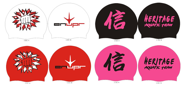 Custom Swim Cap with logo printed on both sides and swimmer's name